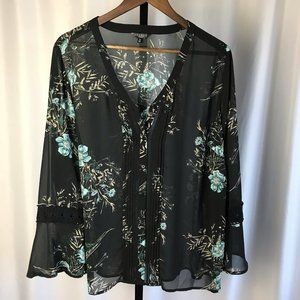 Hannah Woman Sheer Black Floral Blouse - 1X